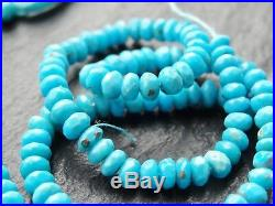4.5mm CUT NATURAL SLEEPING BEAUTY TURQUOISE RONDELLES, 14.5 strand, 140 beads