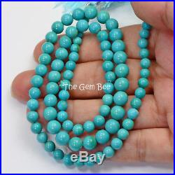 4.8MM-7MM Sleeping Beauty Turquoise Smooth Round Rondelle 18.6 inch strand