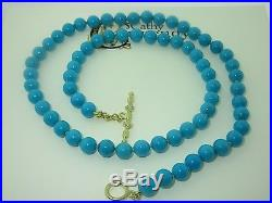 $4200.00 Cathy Carmendy Natural Sleeping Beauty Turquoise Necklace 6.0mm 18kyg