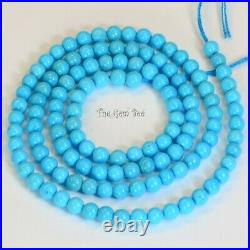 4MM-4.15MM Old Stock Sleeping Beauty Turquoise Smooth Round Beads 18 inch strand