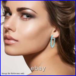 5.33 ctw Sleeping Beauty Turquoise Inside Out Hoop Earrings 14k White Gold Over