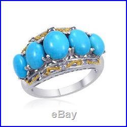 5.678ct Arizona Sleeping Beauty Turquoise Ring in 925 Sterling Silver -UK Size U