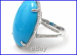 5.87 Carats Fine Turquoise Sleeping Beauty Diamond Ring 18kt White Gold Size 7