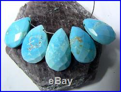 5 NATURAL ARIZONA SLEEPING BEAUTY FACETED TURQUOISE BRIOLETTE BEADS 14-15mm