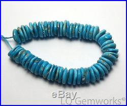 5 Strand SLEEPING BEAUTY TURQUOISE 9mm Hand Cut Rondelle Beads NATURAL /H6