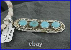 $530 Silver Navajo Natural Sleeping Beauty Turquoise Native American Necklace