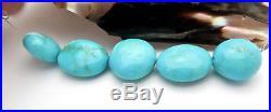 5pc UNTREATED RARE AAAA+ HUGE SLEEPING BEAUTY ROBIN'S EGG BLUE TURQUOISE BEADS
