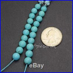 6.7MM-8.2MM Sleeping Beauty Turquoise Smooth Round Rondelle 2.8 inch strand