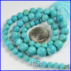 6.8MM to 11.6mm Sleeping Beauty Turquoise Smooth Round Beads 18 inch strand