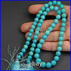 6MM-8.8MM Sleeping Beauty Turquoise Smooth Round Rondelle 17.2 inch strand