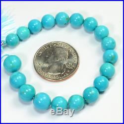 7.3MM-9.7MM Sleeping Beauty Turquoise Smooth Round Rondelle 6 inch strand