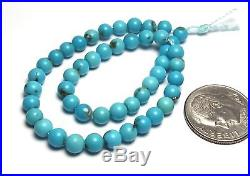 7.5 Strand SLEEPING BEAUTY TURQUOISE 4mm Round Beads A NATURAL COLOR /R75