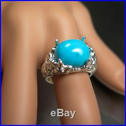 7.55cts Natural Turquoise sleeping beauty &sapphires 925 Sterling Silver ring