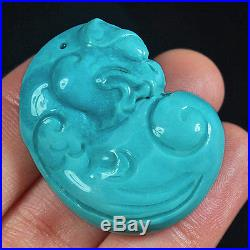 71.3CT 100% Natural Sleeping Beauty Turquoise Carving Pi Xiu CST70