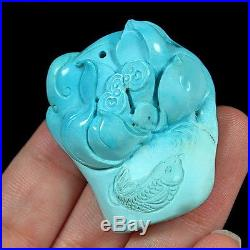 74.85CT 100% Natural Sleeping Beauty Turquoise Carving Lotus Pendant CST5