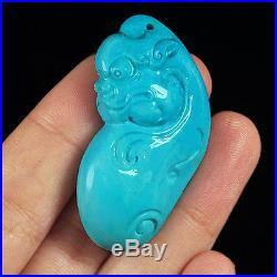 77.3CT 100% Natural Sleeping Beauty Turquoise Carving Pi Xiu CST40