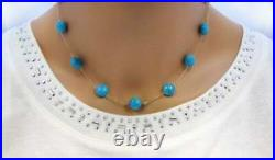 7Cts Sleeping Beauty Bead Turquoise Station 18 Necklace in 18K Yellow Gold Over