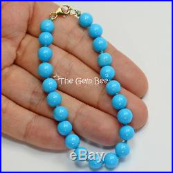 7mm 18k Solid gold Spacer Untreated Sleeping Beauty Turquoise Bracelet 7 INCH