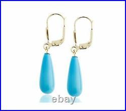 8.1ct Sleeping Beauty Turquoise 14K Yellow Gold Over Teardrop Leverback Earrings