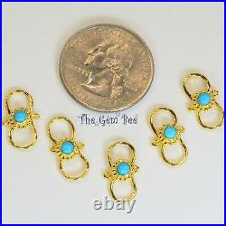 8.8mmx16mm 18k Solid Gold S Hook Clasp Sleeping Beauty Turquoise Granulation