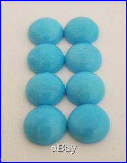 8 Round Natural Sleeping Beauty Turquoise Cabochons 9mm