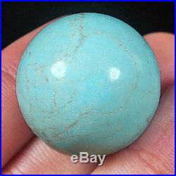 81.6CT 24mm 100%Natural High Hardness Sleeping Beauty Turquoise Round Bead ZST12
