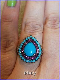 8cts Natural sleeping Beauty turquoise & Ruby ring solid 925 Sterling silver M