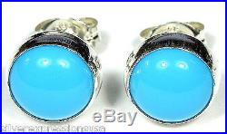 8mm Round Blue Sleeping Beauty Turquoise 925 Sterling Silver Stud Earrings