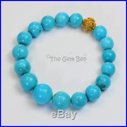 9.2mm 13mm Sleeping Beauty Turquoise 18k gold spacer Bracelet 7