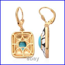 925 Silver Yellow Gold Over Sleeping Beauty Turquoise Drop Earrings Gift Ct 2.3