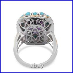 925 Sterling Silver Amethyst Sleeping Beauty Turquoise Halo Ring Size 7 Ct 8.3