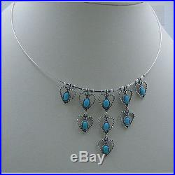 925 Sterling Silver Natural Blue Sleeping Beauty Turquoise Choker Heart Necklace