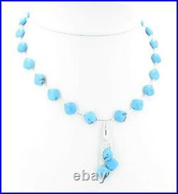 925 Sterling Silver Natural Blue Sleeping Beauty Turquoise Diamond Necklace