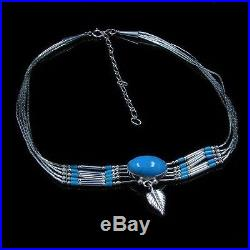 925 Sterling Silver Natural Sleeping Beauty Blue Turquoise Leaf Necklace