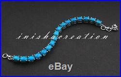 925 Sterling Silver Natural Sleeping Beauty Turquoise Gemstone Bracelet Gift B36