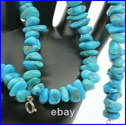 925 Sterling Silver Sleeping Beauty Blue Turquoise Nugget 16-18 Necklace 51.6 G