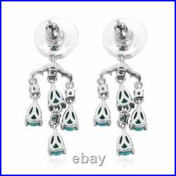 925 Sterling Silver Sleeping Beauty Turquoise Apatite Drop Earrings Gift Ct 0.5