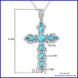 925 Sterling Silver Sleeping Beauty Turquoise Cross Pendant Size 20 Ct 0.9 Gift
