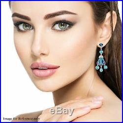 925 Sterling Silver Sleeping Beauty Turquoise Dangle Drop Earrings Gift Ct 0.6