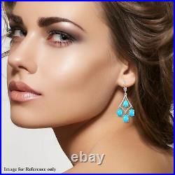 925 Sterling Silver Sleeping Beauty Turquoise Drop Dangle Earrings Gift Ct 2.2