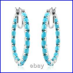 925 Sterling Silver Sleeping Beauty Turquoise Hoop Hoops Earrings Gift Ct 6.6