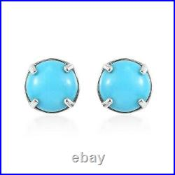 925 Sterling Silver Sleeping Beauty Turquoise Stud Solitaire Earrings Ct 3.3