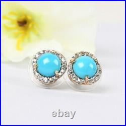925 Sterling Silver Sleeping Beauty Turquoise Zircon Solitaire Earrings Ct 2.9