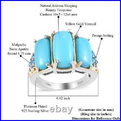 925 Sterling Silver Vermeil Sleeping Beauty Turquoise 3 Stone Ring Size 9 Ct 4.7