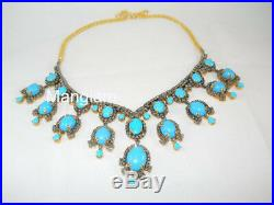 925k Sterling Silver Natural Diamond Sleeping Beauty Turquoise Necklace Earrings