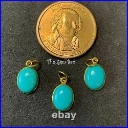 9mmx17mm 18k Solid Yellow Gold Sleeping Beauty Turquoise Bezel Pendant Charm