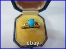 A Really Pretty Ladies 10k Gold Turquoise Sleeping Beauty Diamond Ring Size L1/2