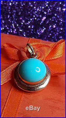 Antique 14k Rose Gold Pendant Necklace Sleeping Beauty Turquoise Gemstone