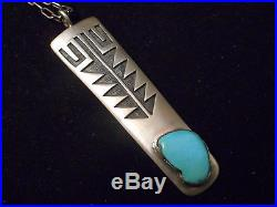 ARROW Sleeping Beauty Turquoise OLD silver HOPI pendant VINTAGE necklace