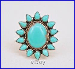Alex Gelvin Sterling Silver Sleeping Beauty Turquoise Cluster Navajo Ring Size 7